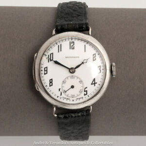 Tavannes-SCHWOB-FRERES-amp-CO-Silver-TRENCH-WWI-Watch-034-DOMINANT-034-Military-Antique