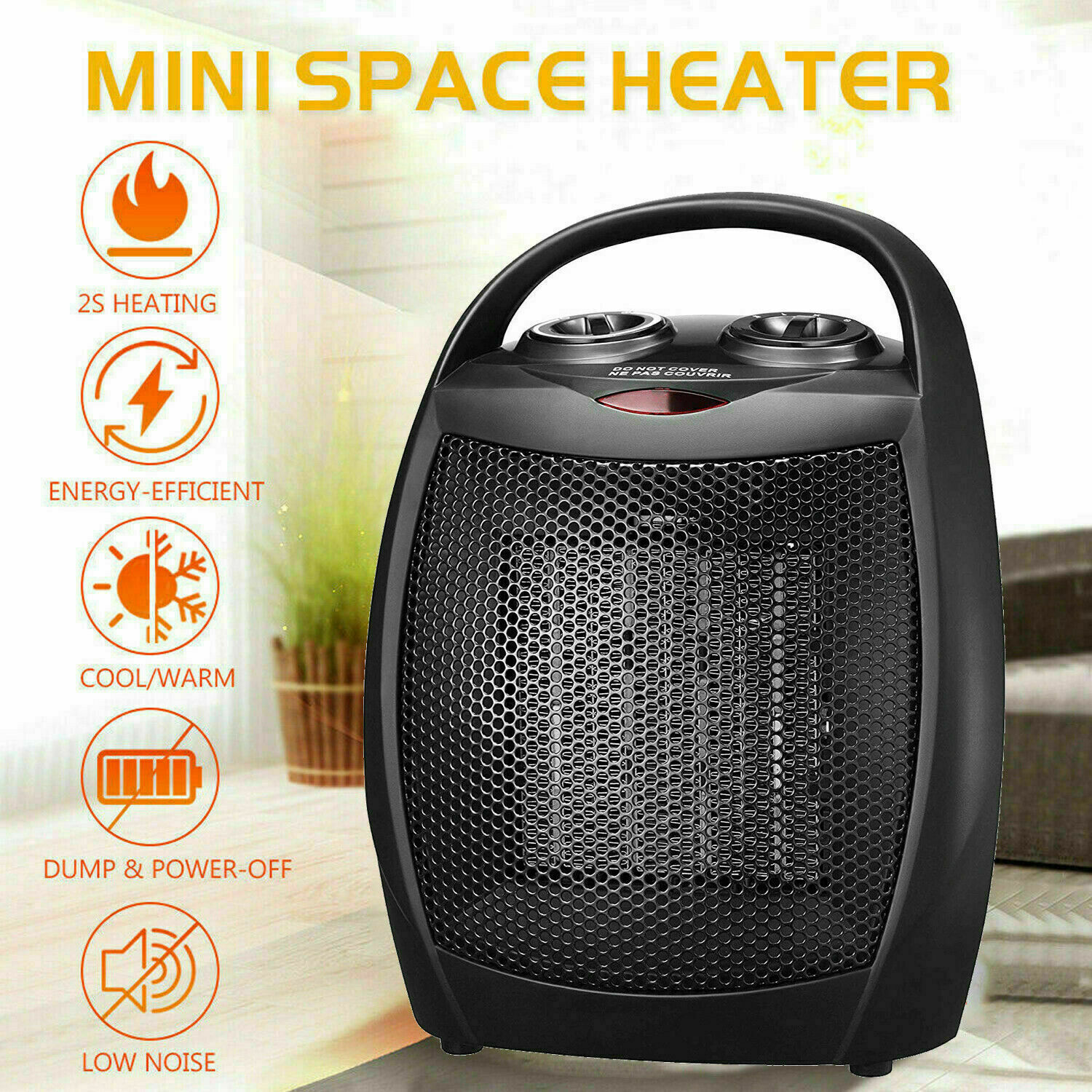 1500W Portable Fan Heater Small Space Heater with Thermostat White