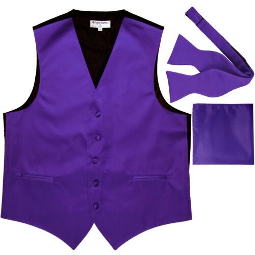 New Men/'s purple formal vest Tuxedo Waistcoat self tie bow tie and hankie set
