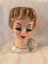 "Gorgeous Vintage 6"" Ucagco Lady Head Vase w Flower"