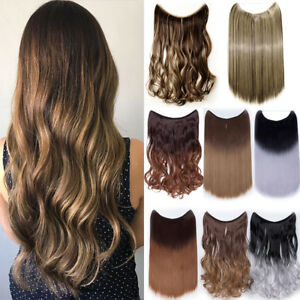 100-Real-Long-Wire-Hair-Extensions-Invisible-Hidden-Halos-Secret-Headband-Thick