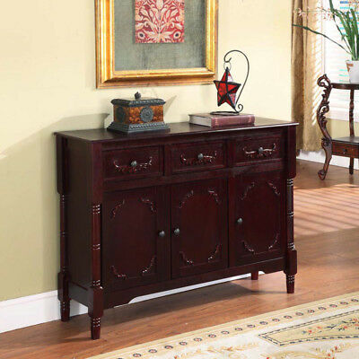 Kings Brand Cherry Finish Wood Console  Sideboard Table With Drawers & Storage ~