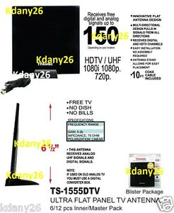 Hot Digital Indoor HD TV HDTV DTV VHF UHF PC NB Flat High Gain Antenna 1080P MA