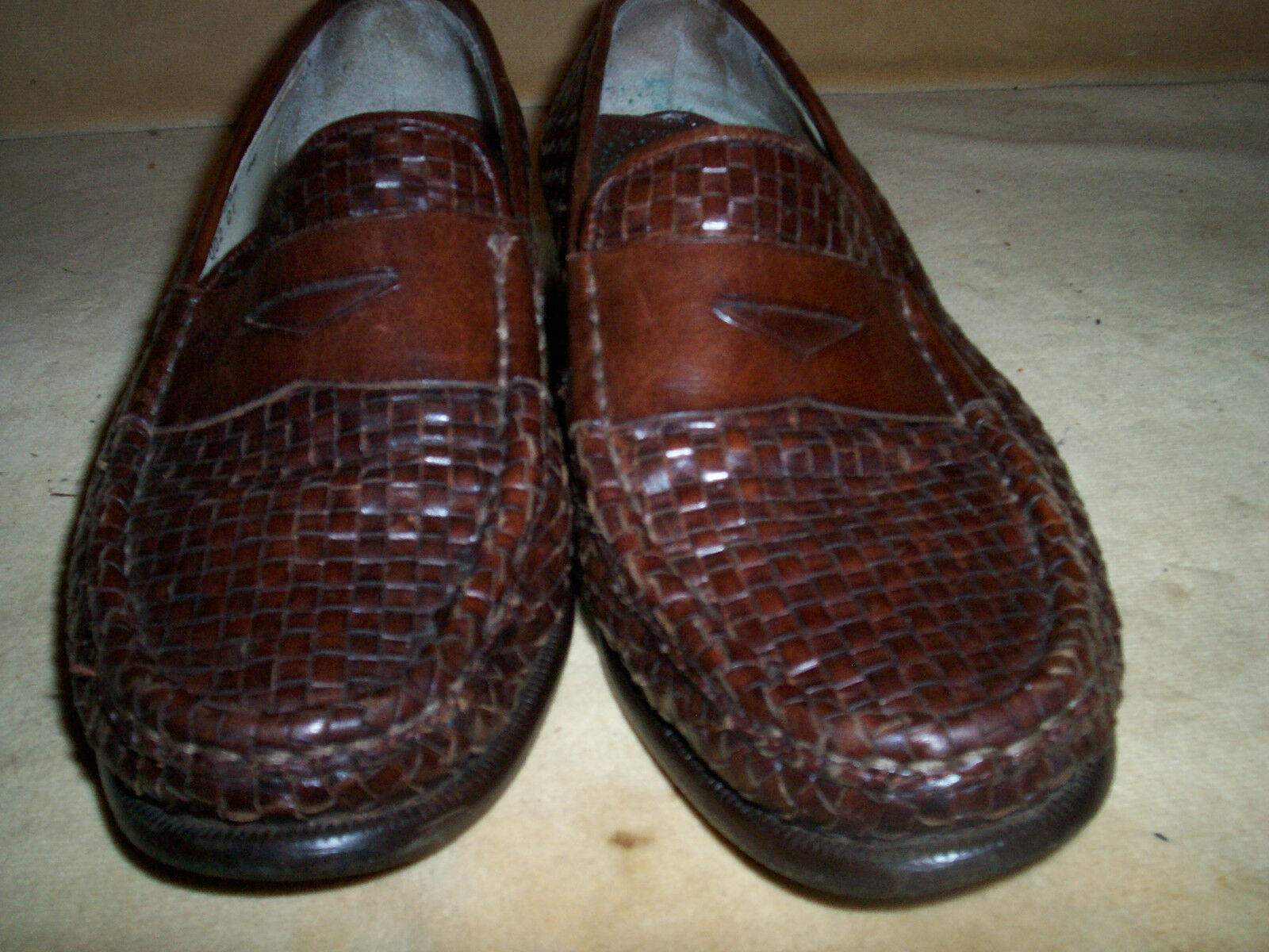 Cole Haan 10.5M 10.5M Haan Dennehy Woven Leather Penny Loafer  395 Retail Chestnut braun b4bd99