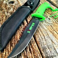 9 Zombie-war Full Tang Hunting Knife Green Handle - Gut Hook 8268