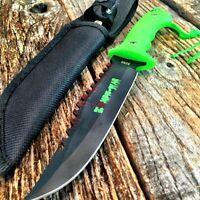 9 Zombie-war Full Tang Hunting Knife Green Handle - Gut Hook 8268