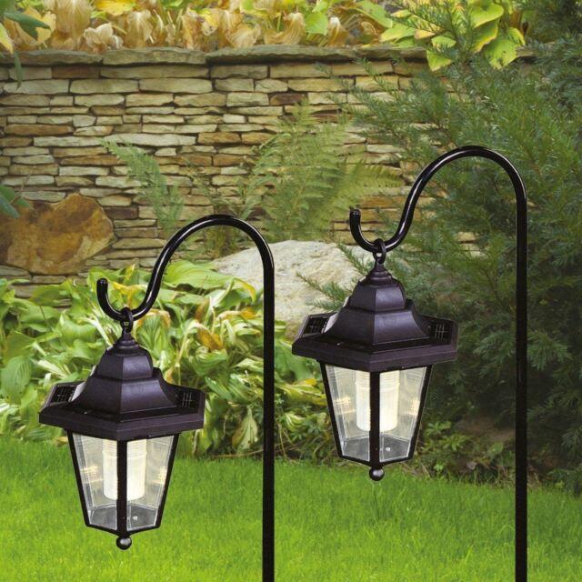 2 X Solar Clic Led Shepherd Hanging Garden Lanterns Coach Outdoor Lamp Lights