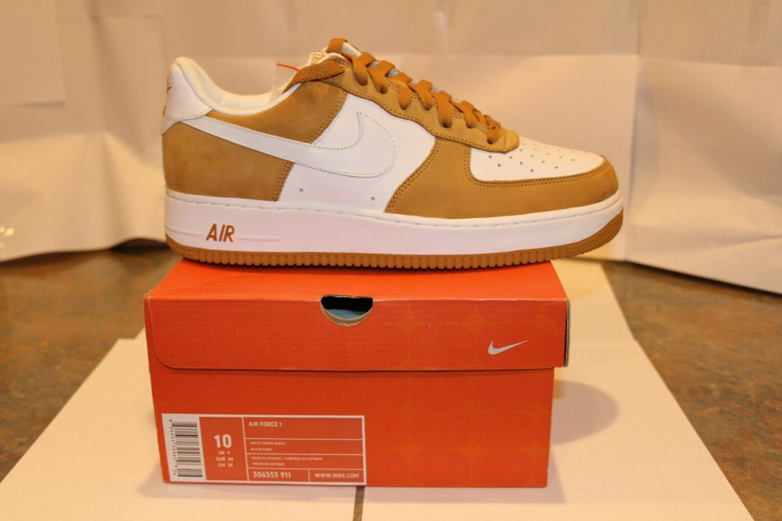 Nike AF 1 Limited Edition 1684 of 4008 numbered white white-wheat 10-COLLECTIBLE