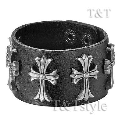 TTstyle Punk Cross Black Leather Bracelet Wristband