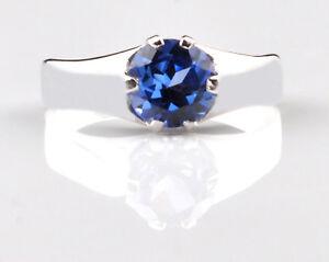 1-20Ct-Runden-Form-100-natuerliche-blaue-Tansanit-585er-Weissgold-Verlobungsring
