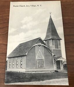 Postcard-Java-Village-NY-Baptist-Church-Vintage-Post-Card-New-York