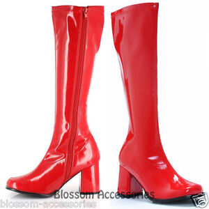 S30 ladies gogo red knee high adult womens hippy 60 s 70 s disco shoes