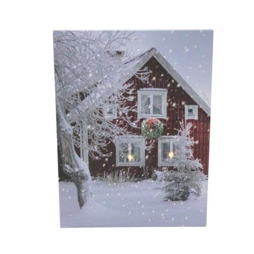 Lighted Red Snow House LED Wall Art Prints Canvas Prints for Christmas Décor
