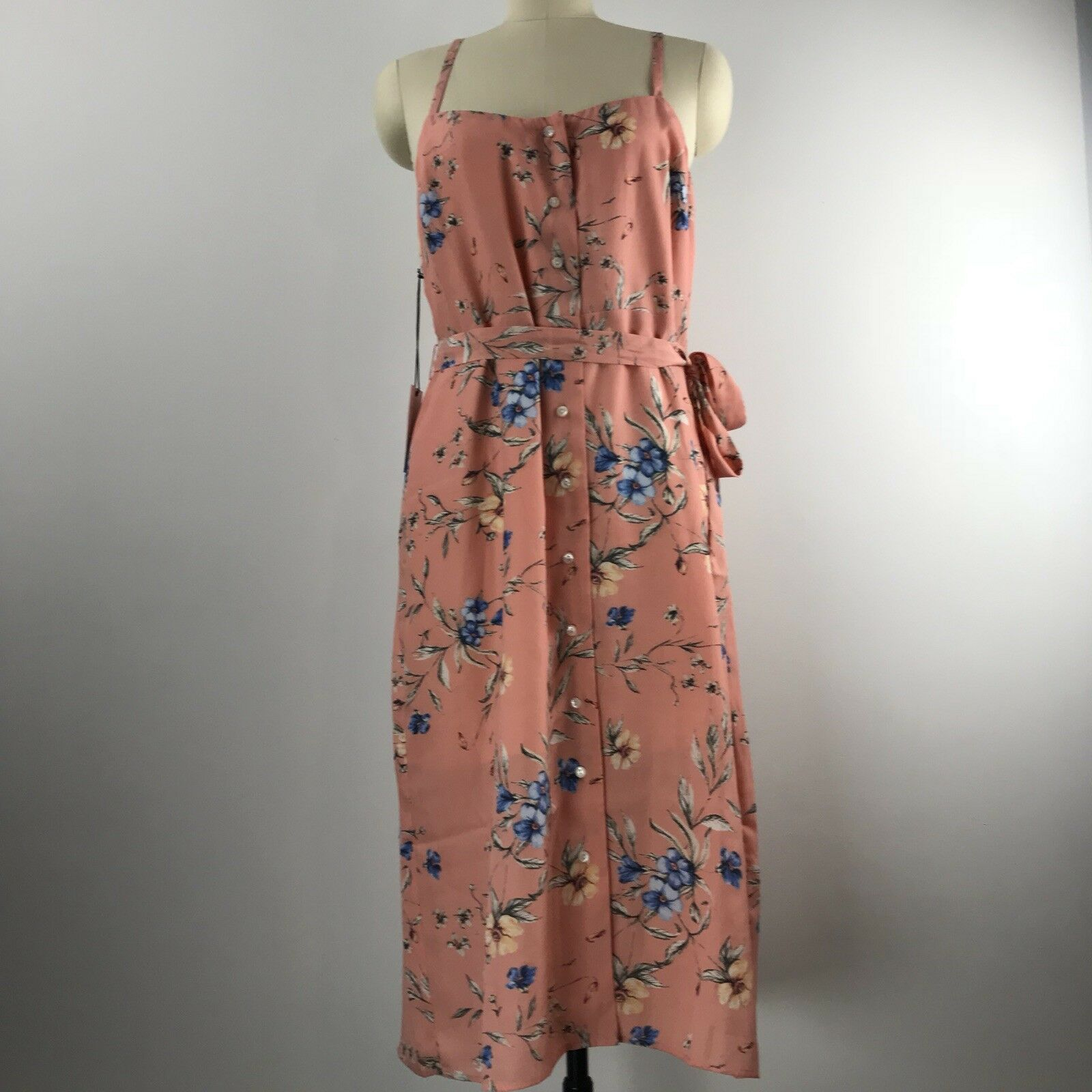 Ali & Jay Flower Frolicking Sleeveless Button Up Midi Dress Woherren Größe Large