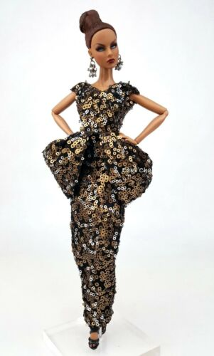 Gold Evening Dress Outfit Gown For Silkstone Barbie Fashion Royalty Rupaul FR
