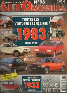 AUTOMOBILIA-96-LES-VOITURES-FRANCAISES-1983-SALON-1982-amp-1933-SALON-1932