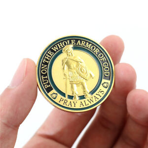 Gold-Plated-Put-On-The-Whole-Armor-God-Commemorative-Challenge-Coin-Souvenir-TLZ