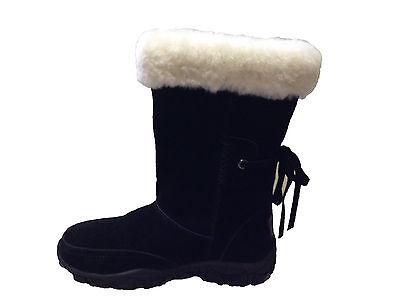 Genuine Sheepskin Lady Fashion UGG Boots Lace on Back Black Colour Multi Size