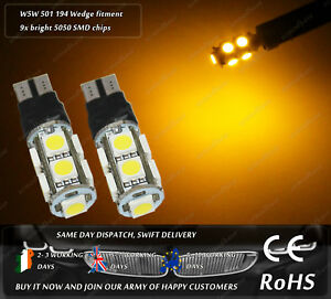 LED-T10-W5W-501-Yellow-Strobe-Flashing-Emergency-Sidelights-Parking-Bulbs-24V