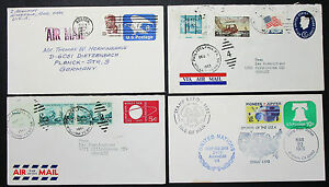 US-Postage-Set-of-4-Covers-Airmail-United-Nations-GS-Rnd-Lupo-US-Letters-H-8236