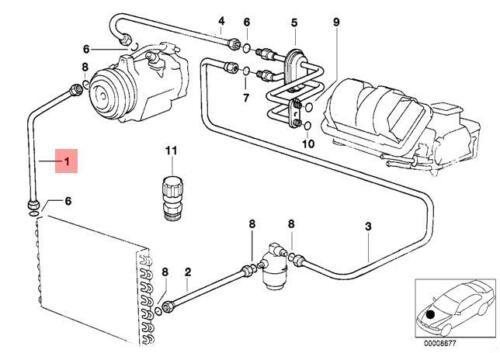Genuine BMW E36 Sedan Refrigerant Discharge Hose Line OEM 64538372122