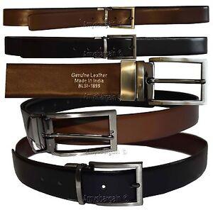 Homme-ceinture-Reversible-Noir-Fonce-Cuir-taille-38-40-in-elastique