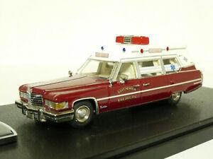 VF-Models-1-43-1976-Cadillac-Superior-Fire-Ambulance-Resin-Handmade-Model-Car