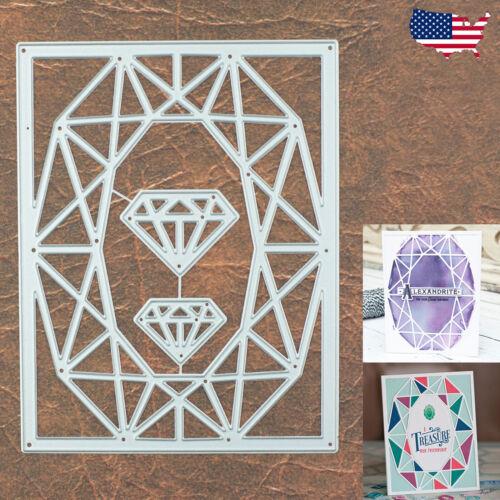 Diamond Gemstone Oval Cut Background Frame w 2 Jewels Cutting Dies Sparkle Gem