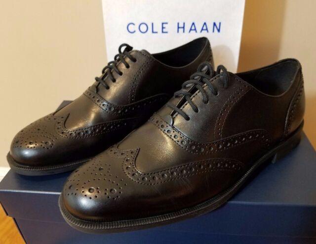 4c43bfabe37 Cole Haan Mens Shoes Size 8.5 Dustin Wingtip Oxford Black Leather Dress Shoe