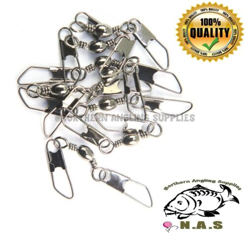 50 AMERICAN SNAP SWIVELS SIZE 10 FEEDER WAGGLER RIVER FISHING RIGS LURE TRACE