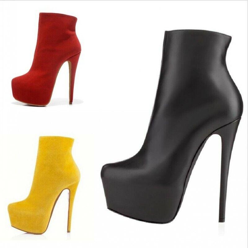 Gr.35-42 Stiletto Sexy Ankle Stiefel Platform Rund Gotisch Abend Schuhe Nachtclub