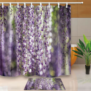 Image Is Loading Plant Drcor Wisteria Flower Vine Bathroom Fabric Shower