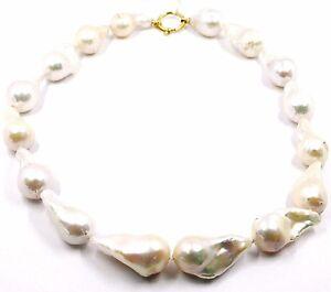 Halskette-Gelbgold-18K-Perlen-Tropf-Gross-Weiss-Suesswasser-Barock-Stil