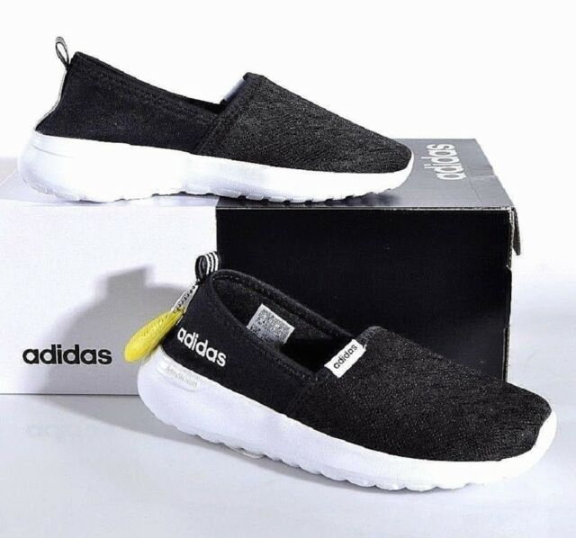 adidas Women s Cloudfoam Lite Racer Slip on Shoes 6 Med Black White ... a0c224415