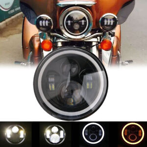 7-034-Motorcycle-Round-Halo-Angel-Eye-LED-CREE-Headlight-Projector-w-DRL-For-Harley