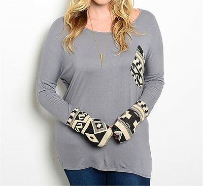 "Plus Size ""Grey Beige Black""Long Sleeve Knit/Tunic Top"