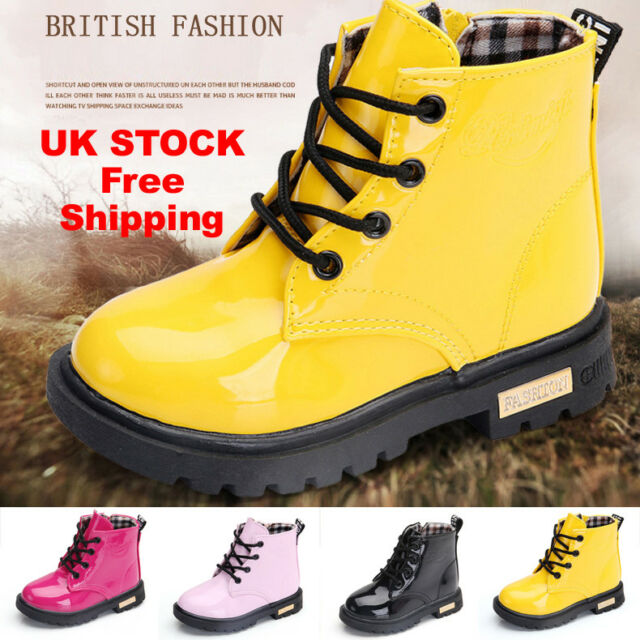 e06c1881fb Children's Martin Boots Boys and Girls Lace Grid Lined Ankle Boots Martin  Shoes