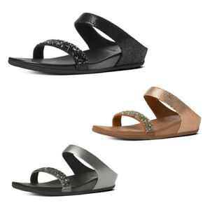 2392b8084d3bf Image is loading Women-039-s-FitFlop-Banda-Crystal-Suede-Slide-