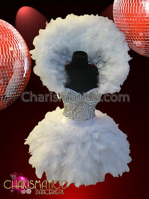 CHARISMATICO Swan lake inspired costume with a feathered collar and skirt