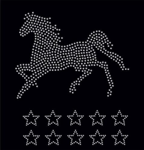 Clara Caballo Galope 10 Estrellas Hierro en apliques de cristal de transferencia de diamantes de imitación Parche