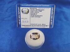 Natural Ametrine Golden Purple Oval 10.43 Cts Certified App $600 AGI AMT24