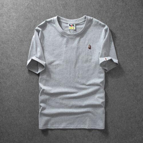 Hot Men/'s Bape Monkey Head Pattern Round Neck A Bathing Ape T-Shirt Tee Shirt