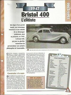 Ordinato Voiture Bristol 400 Fiche Technique Auto 1947 Collection Car I Consumatori Prima