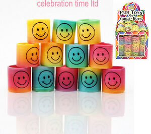 24-Smiley-Mini-Springs-Party-Bag-Fillers-Wedding-or-Birthday-Kids-Toy