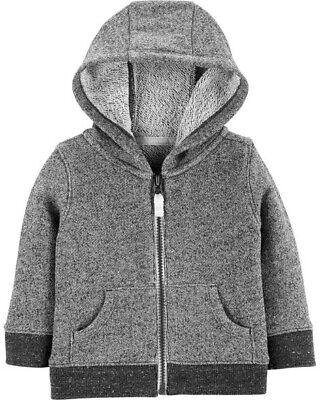 Carters Infant Boys Zip-Up Hoodie Gray Marled NWT  sherpa-lined hood jacket