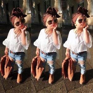 Children-Kids-Baby-Girl-Tunic-Tops-Dress-Denim-Pants-Jeans-2Pcs-Outfits-Clothes