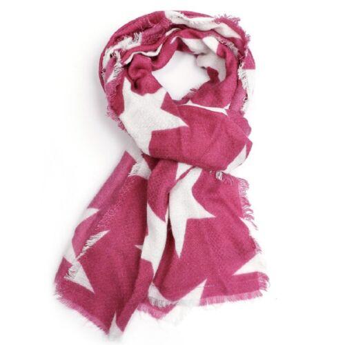 Fuchsia Pink White Star Scarf Stars Scarves Wrap Shawl Ladies Cerise Bright New