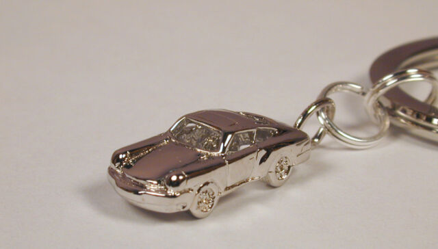 Key Ring with Sterling Silver Porsche 911 Sports Car Charm Free U.S. Shipping