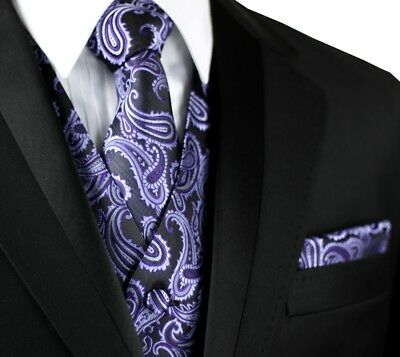 PROM MEN/'S PURPLE PAISLEY TUXEDO VEST DRESS WEDDING FORMAL TIE /& HANKIE SET