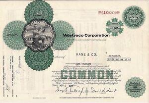 Stock-certificate-Westvaco-Corporation-1970s-State-of-Delaware